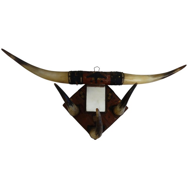 Vintage Leather Horn Hat Rack - Image 1 of 3