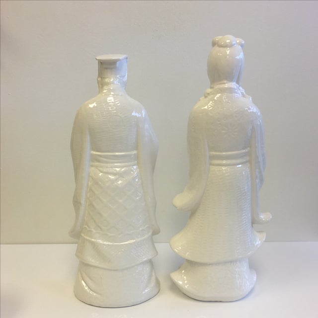 White Chinoiserie Statues - Pair - Image 5 of 11