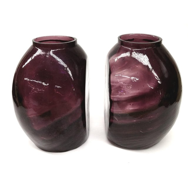 Twin Vintage Amethyst Glass Vases Heather Plum - 2 - Image 3 of 10