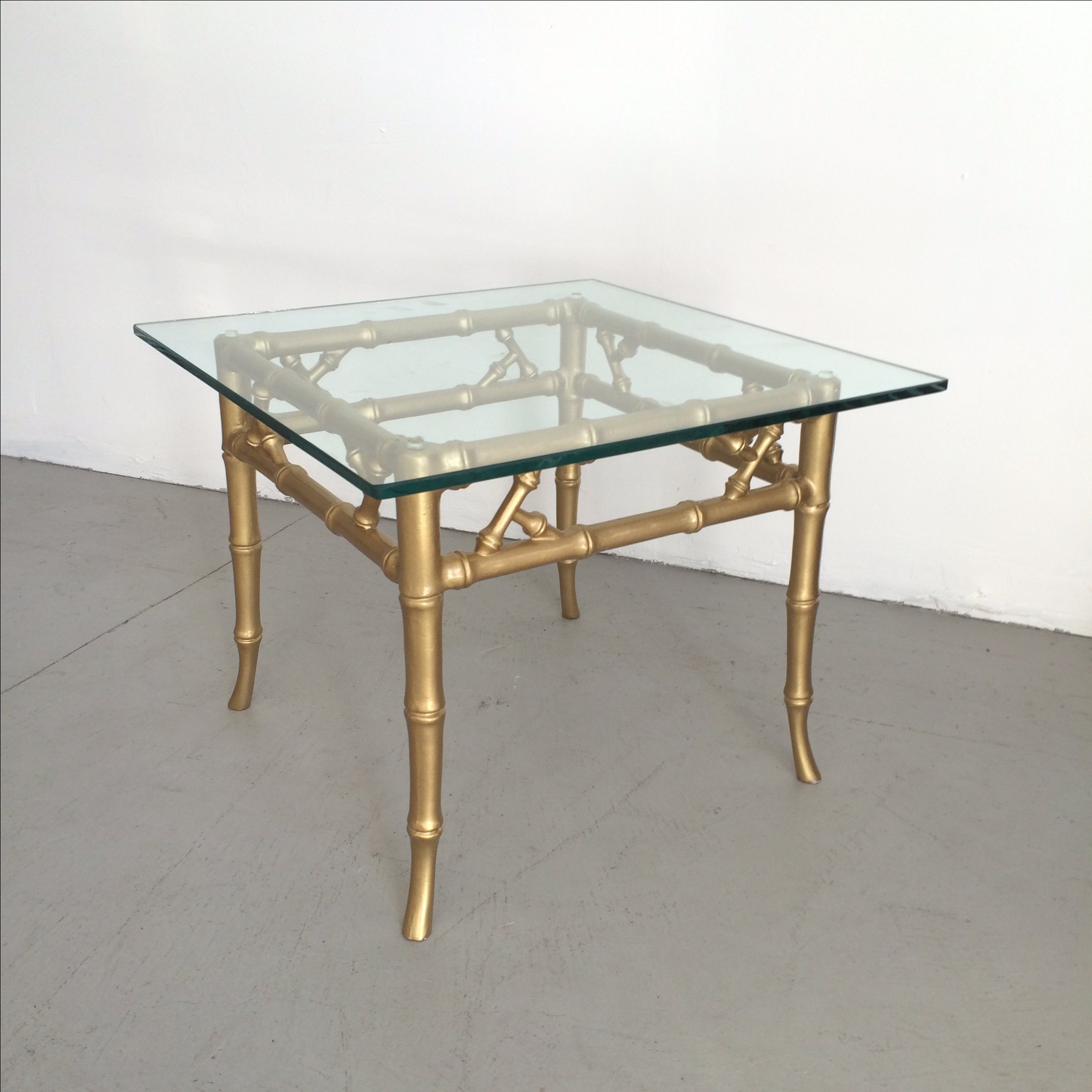 Gilded Metal Faux Bamboo Accent Table   Image 2 Of 11