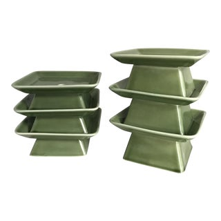Pagoda Inspired Vases / Candle Holders - Set of 6