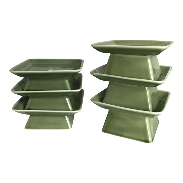 Pagoda Inspired Vases / Candle Holders - Set of 6 - Image 1 of 5