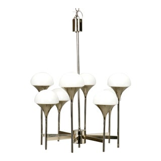 Italian Chrome and White Glass Eight-Light Chandelier
