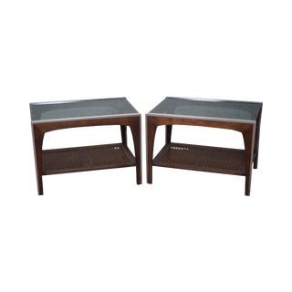 Mid Century Modern Walnut Chrome & Cane Smoked Glass End Tables - a Pair