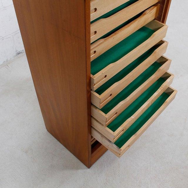 Tall Teak Locking Tambour Door Jewelry Cabinet - Image 5 of 9