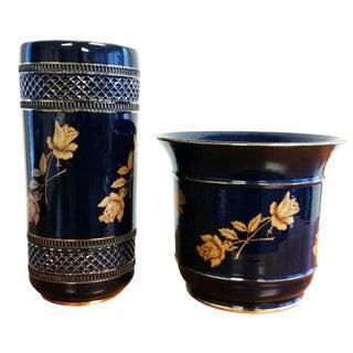 Cobalt Blue Italian Porcelain Vases - A Pair