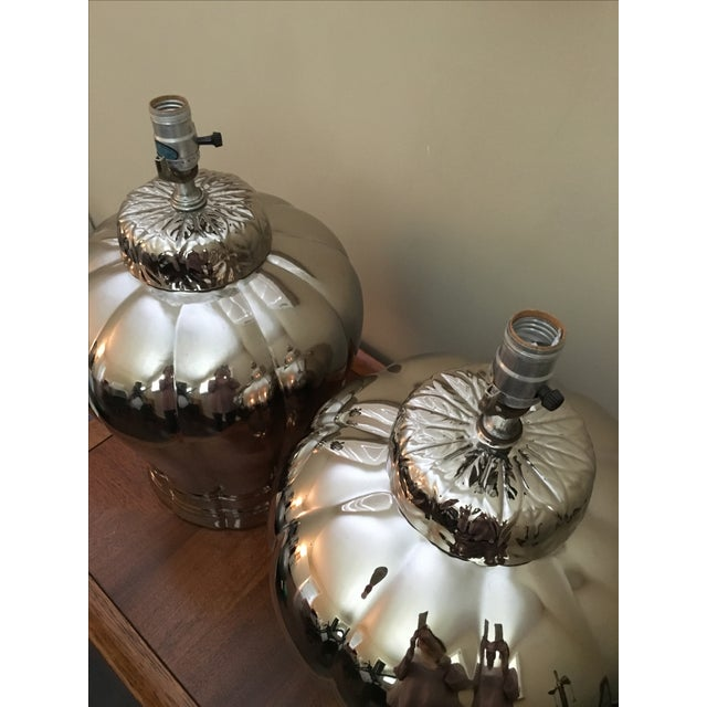 Image of Vintage Silver Ginger Jar Table Lamps - A Pair