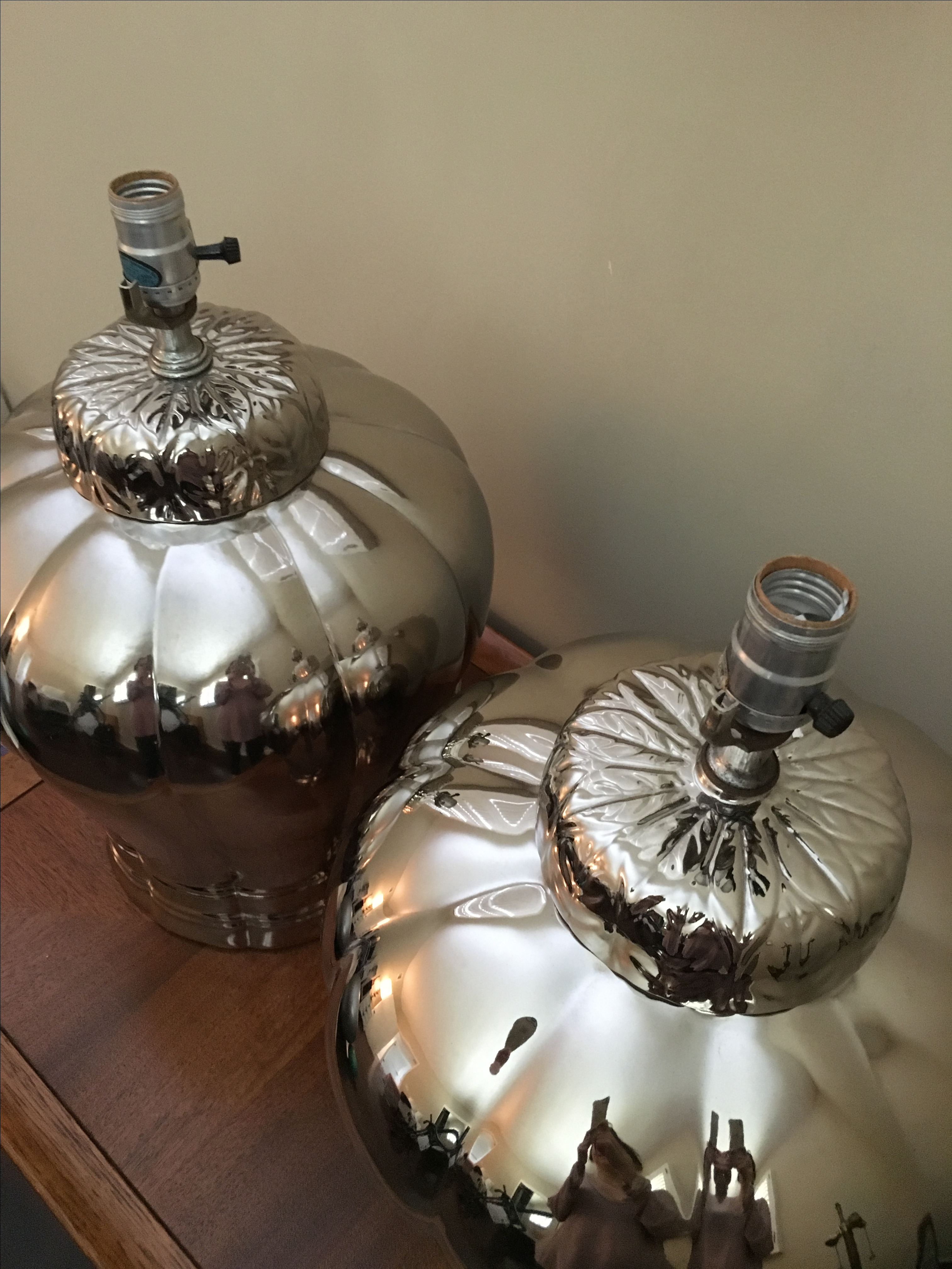 image of vintage silver ginger jar table lamps a pair - Ginger Jar Lamps