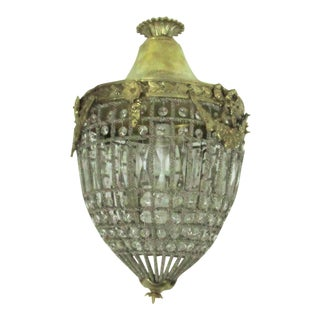 French Empire Glass & Bronze Chandelier