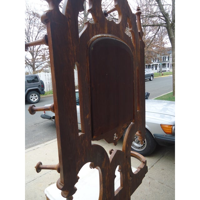 Tall Gothic Style Marble & Wood Coat Hanger Stand - Image 8 of 8