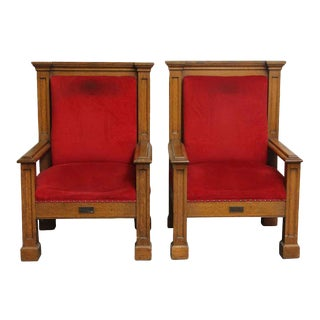 Mission Style Oak Frame Red Upholstered Chairs - A Pair