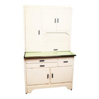Vintage Shabby Chic White Wood Farm Kitchen Cabinet