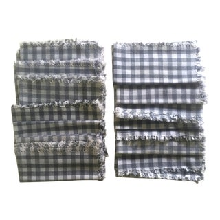 Vintage French Grey & White Check Cotton Fringed Edge Square Table Napkins - 12 Piece Set