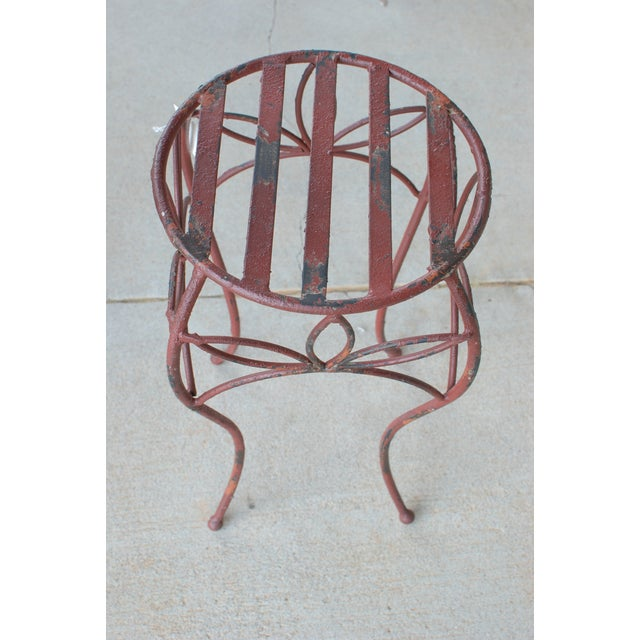 Antique Red Metal Planter Stand - Image 4 of 4