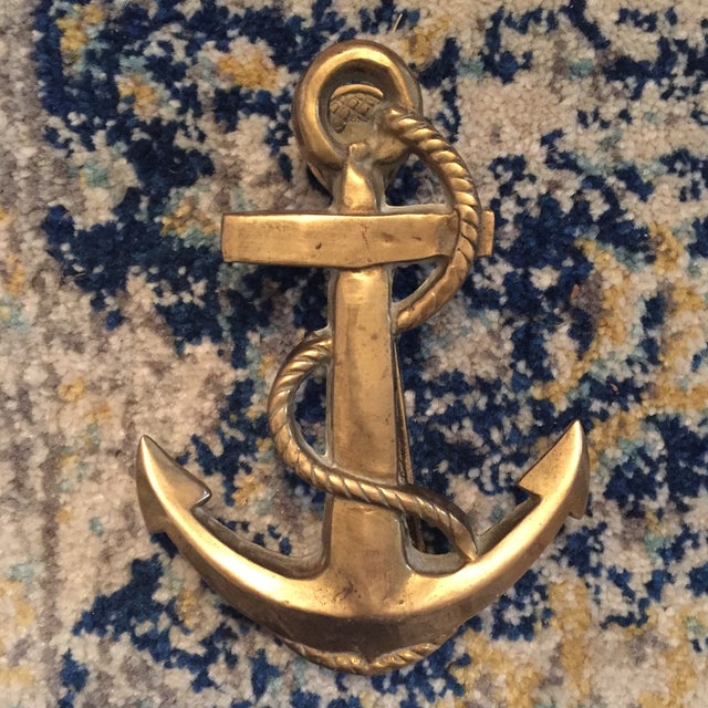Nautical Coastal Beach House Anchor & Rope Brass Door Knocker - Image 3 of 11