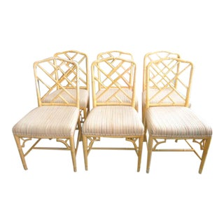Faux Bamboo Chippendale Side Chairs - Set of 6