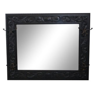 19th-C. Carved Oak Hall Mirror with Hooks