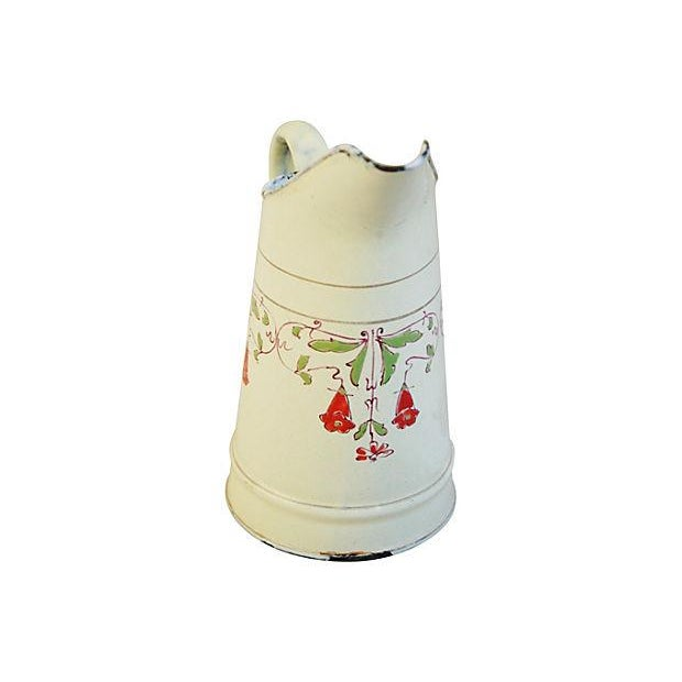 Image of Antique 1930s French Hand-Painted White Pitcher