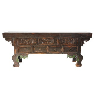 Antique Mongolian Black Sideboard