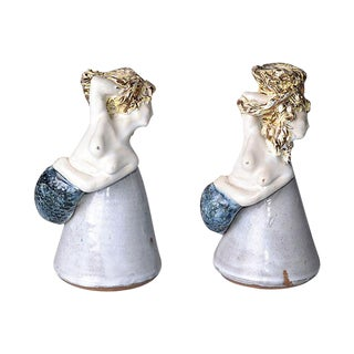 Glazed Mermaid Pottery Vases - A Pair