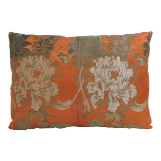19th Century Antique Textile Orange Floral Silk Obi Decorative Bolster Pillow