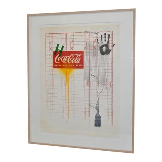 "Circa 1971 ""Coca Cola"" Signed Color Lithograph By Jasper Johns"