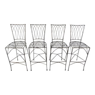 Industrial Modern Sculpted Iron Stools - Set of 4