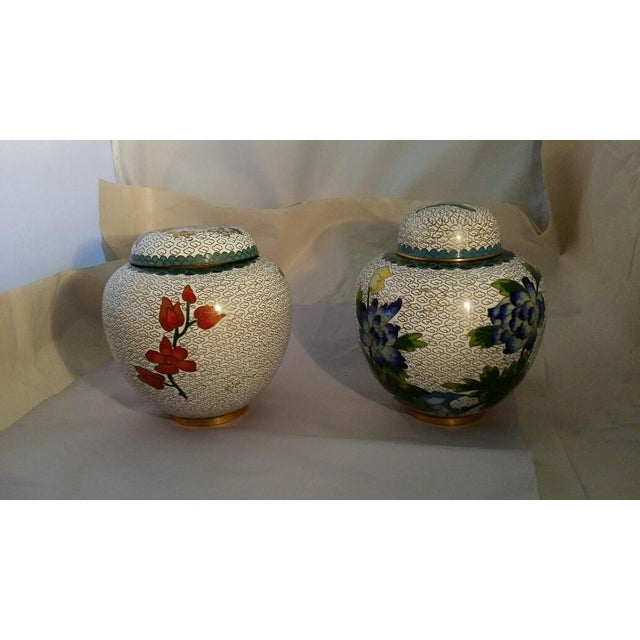 Image of Chinese Cloisonne Lidded Ginger Jar - Pair