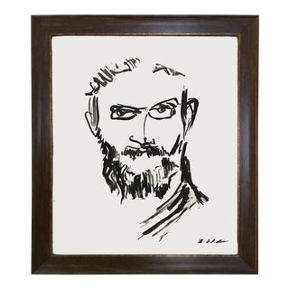 """""""Spectacled Man"""" Black & White Painting"""
