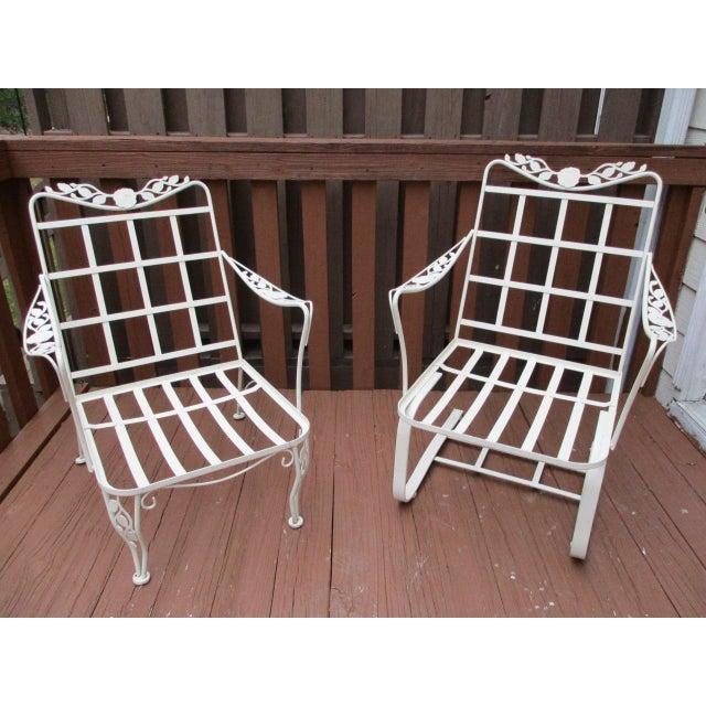 Vintage Russell Woodard Wrought Iron Chairs - Pair - Image 3 of 11
