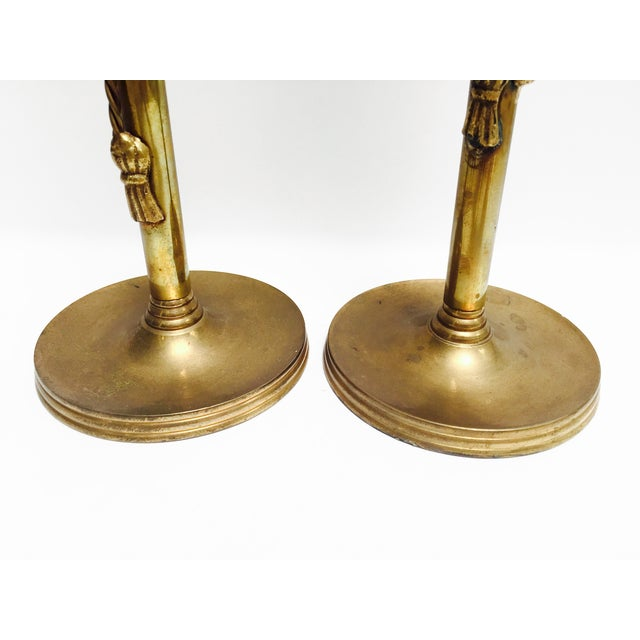 Vintage Brass Tasseled Candleholders - A Pair - Image 5 of 6