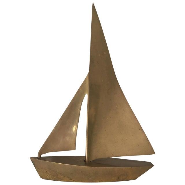 MCM Vintage Brass Sailboat - Image 1 of 6