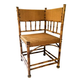 Antique Scorched Bamboo Corner Chair