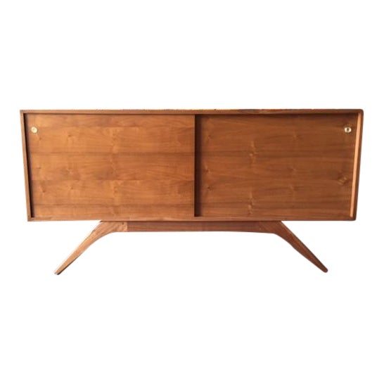 Mid Century Style Custom Walnut Sculpted Base Credenza - Image 1 of 9