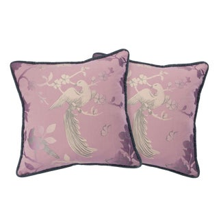 BirdSong Blush Pink Pillows - A Pair