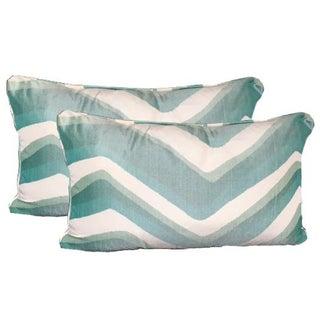 Brunschwig & Fils Chevron Bar Silk Lumbar Pillows in Aqua - A Pair
