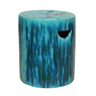 Chinese Ceramic Clay Turquoise Green Glaze Round Garden Stool cs2841