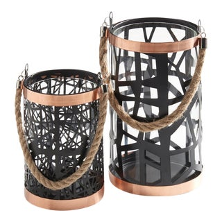 Rose Gold & Black Filigree Hurricanes - A Pair