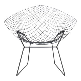 Vintage Knoll Bertoia Black Wire Diamond Lounge Chair