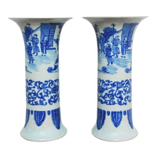 Chinese Blue and White Porcelain Trumpet Vases - a Pair