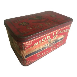 "Vintage Early 1900's ""Union Leader Cut Plug"" Tobacco Tin Box"