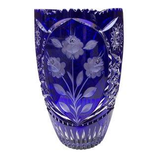 Vintage Czech Bohemian Blue Cut Glass Floral Vase