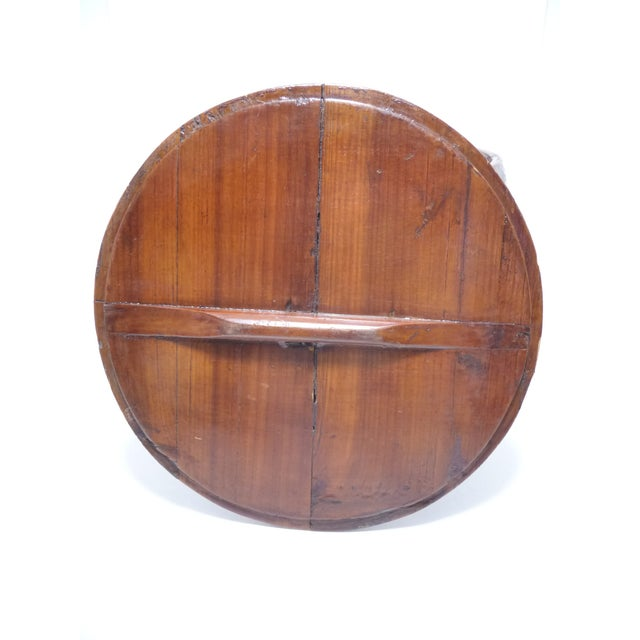 Antique chinese hand painted round wood box chairish for Circular wooden box