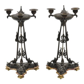 Pair Antique French Bronze Pastille Burner Candelabra