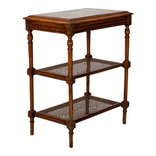 French Tiered Marble & Cane Side Table