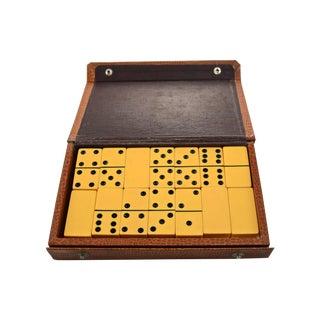 Yellow Bakelite Dominoes in Brown Case