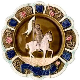 Antique Majolica Jeanne D'Arc Decorative Plate