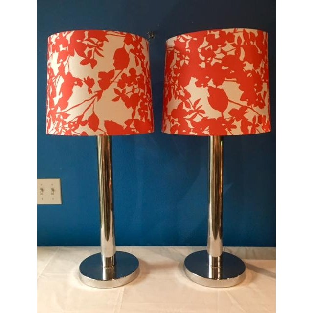 Mid-Century Modern Chrome Table Lamps - A Pair - Image 4 of 5
