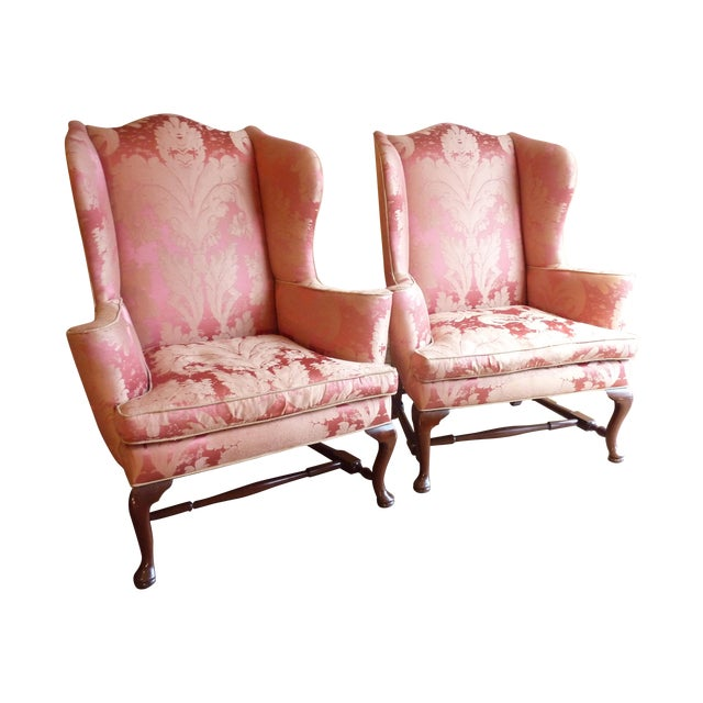 Vintage Cherry Wingback Chairs - a Pair - Image 1 of 6