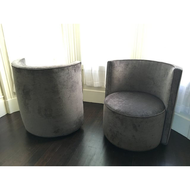 Image of Mid-Century Gray Swivel Club Chairs - A Pair